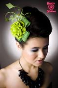 Green dahlia fascinator