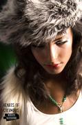Grey 70's style faux fur tam