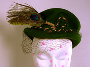 Madd Hatts Emerald Green Peacock Feather Vintage Repurposed Hat