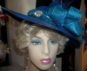 Turqouise Glory Wide Brimmed Church Hat