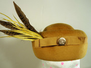 Madd Hatts Mustard Pheasant Feather Hat