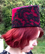 Dramatic Red Felt Toque Hat with Black Lace