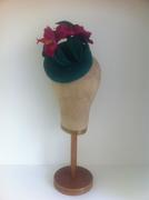 Emerald Green Fur Felt Button with Phaleanopsis Orchids & Fur Leaves by Murley & Co Millinery