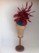 Teal Fur Felt & Red Leather Headpiece by Murley & Co Millinery