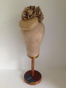 Vintage italian leather cocktail button with bloom by Murley & Co Millinery - www.murleyandco.com