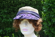 straw golf hats, trimmed in silk and vintage trim