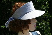 Silk periwinkle golf visor with hand dyed trim