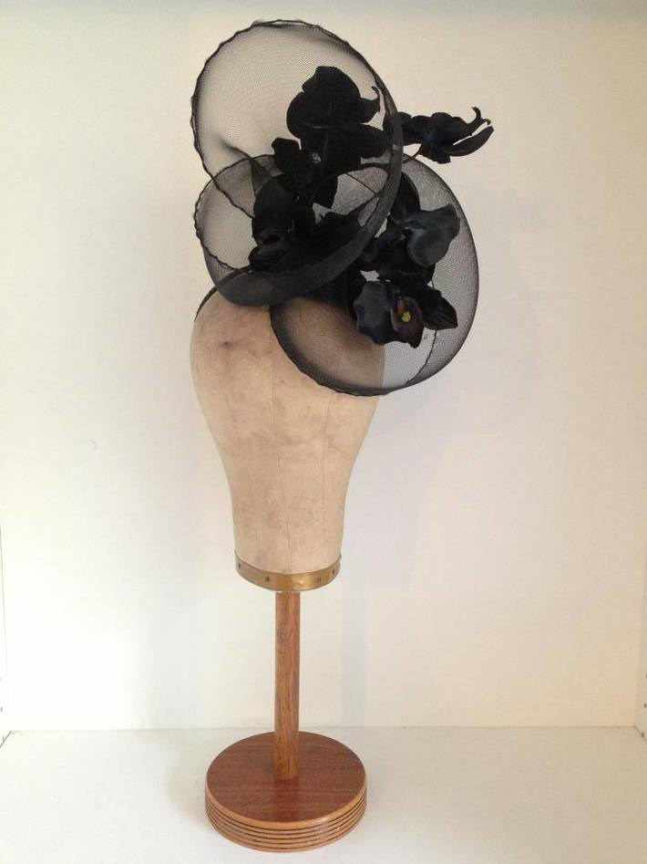Black Wired Crinoline Headpiece with Phalaenopsis Orchids by Murley & Co Millinery