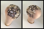 Gatsby Inspired Platinum Beaded Skullcap by Murley & Co Millinery