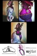 Violet Sinamay & Silk Hand-beaded Fascinator/Headband