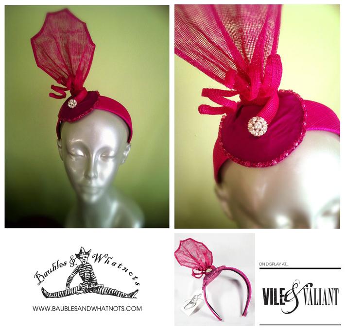Hot Pink Sinamay Headband/Fascinator
