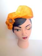 Orange Silk Abaca Headpiece