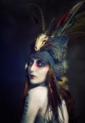Springbok horn & Raccoon skull tribal aviator headdress