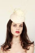 White felt hat with lace detail and cream hand sculpted quills - Georgina Heffernan Millinery
