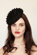 Black beaded beret - Georgina Heffernan milllinery