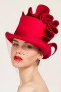 Red Felt top hat -Georgina Heffernan Millinery