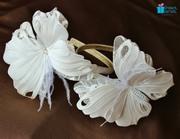Back to school white butterfly headbands