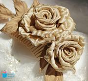Golden silk rose wedding hair comb