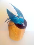 Vintage Millinery Feather Black Velvet Button Beret Cocktail Hat Headpiece