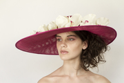Pink straw with real touch orchids- Georgina Heffernan milllinery