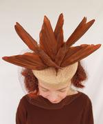 Vintage-Style Tan Felt Tilt Hat with Vintage Double Faux Birds and Vintage Veiling