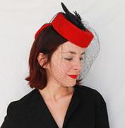 Red Felt Tilt Hat with Black Vintage Faux Bird and Black Vintage Veiling