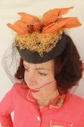 Grey Felt Tilt Hat with Double Vintage Faux Birds