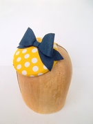 Yellow Polka Dot With Bow Button Cocktail Hat