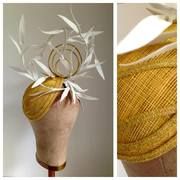 Yellow Closefitting Teardrop with White Paper Feathers by Murley & Co Millinery