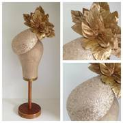 Gold Sequinned Teardrop Headpiece with Maples by Murley & Co Millinery