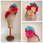 Red Silk Headpiece with Aqua, Red, Mango & Pink Orchids by Murley & Co Millinery