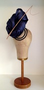 Navy & Musk Silk Abaca Headpiece by Murley & Co Millinery