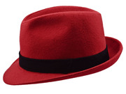 Sewed Red Trilby hat