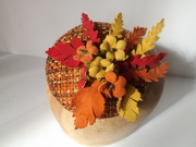 Autumn Inspired Cocktail Hat With Vintage Leather Millinery Flowers