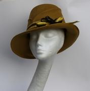 Mustard Wide Asymmetrical Brim Women Hat