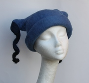 blue felted hat Christmas caroling