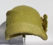 Yellow green hand felted cloche Autumn Leaves