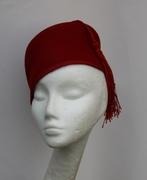 Crimson Red Fez Smoking Cap Women Millinery Hat