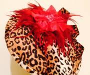 Velvet Red & Leopardprint Flower Hatinator