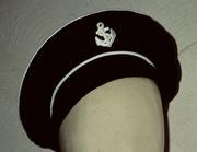 Navy jersey sailor beret made from a Vogue pattern 1996