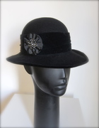 Remade vintage hat with brooch