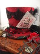Red Queen Inspired Silk Miniature Top Hat