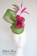 Sinamay Hat in Lime and Hot Pink