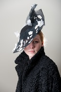 Sinamay Black White Headpiece