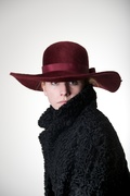 Marsala wide Brim Fur Felt Hat Boho Millinery