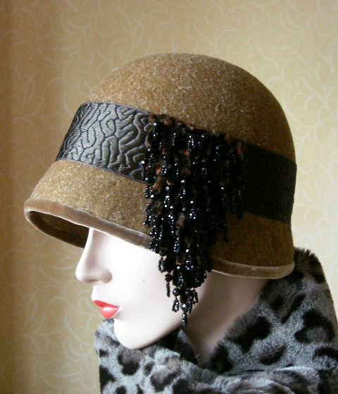 Amber cloche with fabulous French vintage chenille embellishment