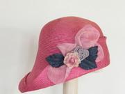 Handmade parasisal with sinamay flower made in Israel Rana Hats