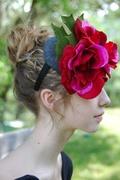 red flower fascinator