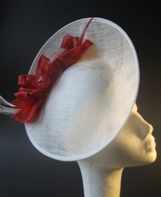 Poppy Red White Saucer Hat Headpiece