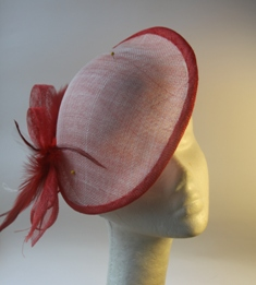 Saucer Hat Red Bow Millinery